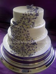 Purple and Silver Wedding Cake with flowers & butterflies