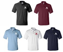 Polo Shirts, Uni-Sex.  Dark Heather, Maroon, Light Blue, White and Navy Blue. - Silk-Screen Logo - DryBlend Fabric 50/50 - 3-Button Placket - Knitted Collar/Cuffs