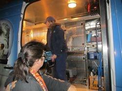 Sheila and Paris load the van