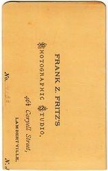 Frank Z. Fritz, photographer of Lambertville, NJ - back
