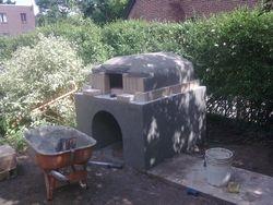 Masonry pizza/bread oven under construction in Denver Colorado