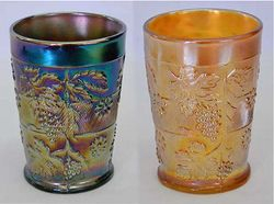 Floral and Grape tumbler, purple and marigold