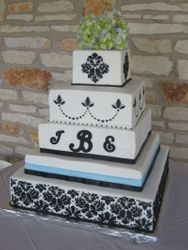 Monogram Damask Wedding Cake