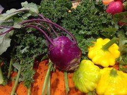 Kohlrabi is the purple alien-looking veggie!