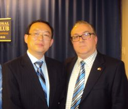 Famous Chinese dissident and writer, Yu Jie with AAFH Board of Directors Member, Mustafa Xhepa