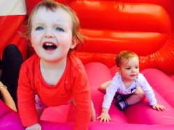 My grandaughters enjoying the bouncy castle at the open day
