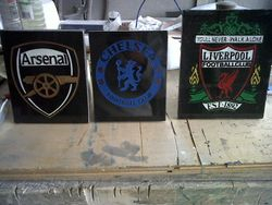 Arsenal,Chelsea and Liverpool badges