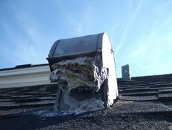 Clogged vent on roof
