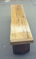 Cedar bench on pedestal legs