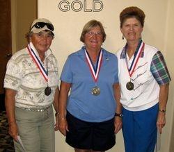 Gold flight winners- Susie Bullard & Kathy Dunnuck, and Overall net winner- Barb Ford