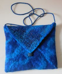 Blue Felt  Beaded Bag