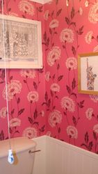 Wallpaper in a downstairs cloakroom