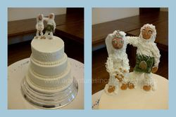 Wedding Cake with Yeti Bride and Groom Toppers