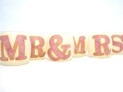 Cream and Rose Pink MR & MRS
