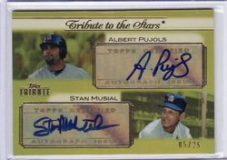 PUJOLS / MUSIAL 2011 TOPPS TRIBUTE DUAL AUTO GOLD #5/ 25