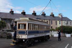 Turning the trolleypole around for a return to Douglas.