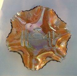 Brooklyn Bridge, 6 ruffled bowl, marigold