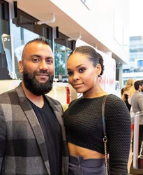 Demetria McKinney and Krish Sidhu attend Hublot Diamond Rally Launch Party
