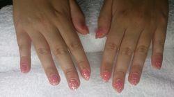 Roze glitter acryl
