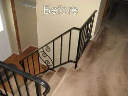 Iron railing replaced with wood
