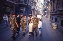 Soldiers with children, Sarajevo, 1999