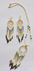Beaded Dreamcatcher Necklace and Earrings