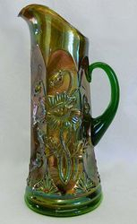 Oriental Poppy tankard water pitcher, green