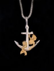 Sterling silver and 14k yellow gold mermaid anchor pendant