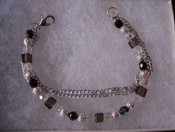 Crystal, glass pearls triple strand bracelet