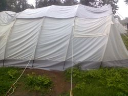 Tent for displaced - currently home to hundreds of people