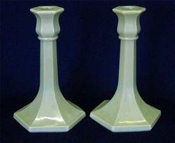 """Number 658 trumpet 7"""" candlesticks, iridised custard"""