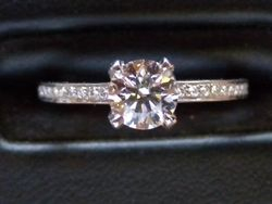 18ct White gold diamond solitaire with pave set brilliant cut shoulders.