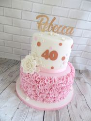 40th Birthday ruffle and rose cake