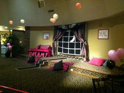 The slumber party set up!