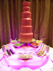 Pink Chocolate Fountain Hire, Our latest 6 tier chocolate fountain. Marriott Hotel York
