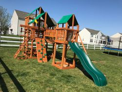 Gorilla treasure trove 1 cedar swing set installation in rockville MD