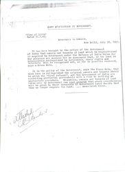 Letter from Mr. De Vitre, Govt. of Bombay