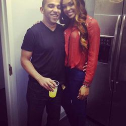 Jam Poet's Husband & Demetria McKinney Celebrating The Launch Of 'Platinum Wigs' on October 5, 2013