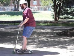 Matt on his Razor scooter at RU