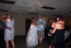 Friends dancing with the bride