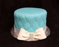 Blue Quileted cake with bow and bling