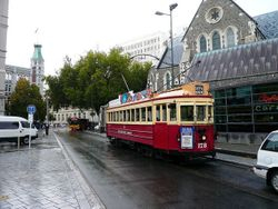 Tram in Cathedral Square 2009