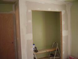 built closet, complete with new framing and drywall