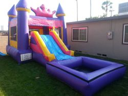 Princess combo jumper with waterslide