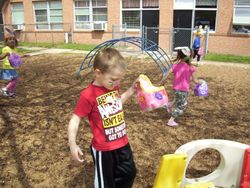 Four year old class easter egg hunt