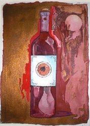 Wine bottle in red