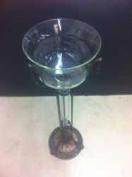 Custom Blown glass piece we made to fit this antique stand