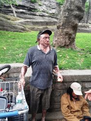 Homeless man we meet with Vitiligo, his eye open so wildly when he saw all of us