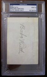 BABE RUTH Autographed Signed Cut PSA/DNA Graded MINT 9 With JSA Full Letter of Authenticity Also