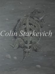 """Cryptic - Short-horned Lizard (12 by 9"""" acrylic on masonite) In Private Collection"""